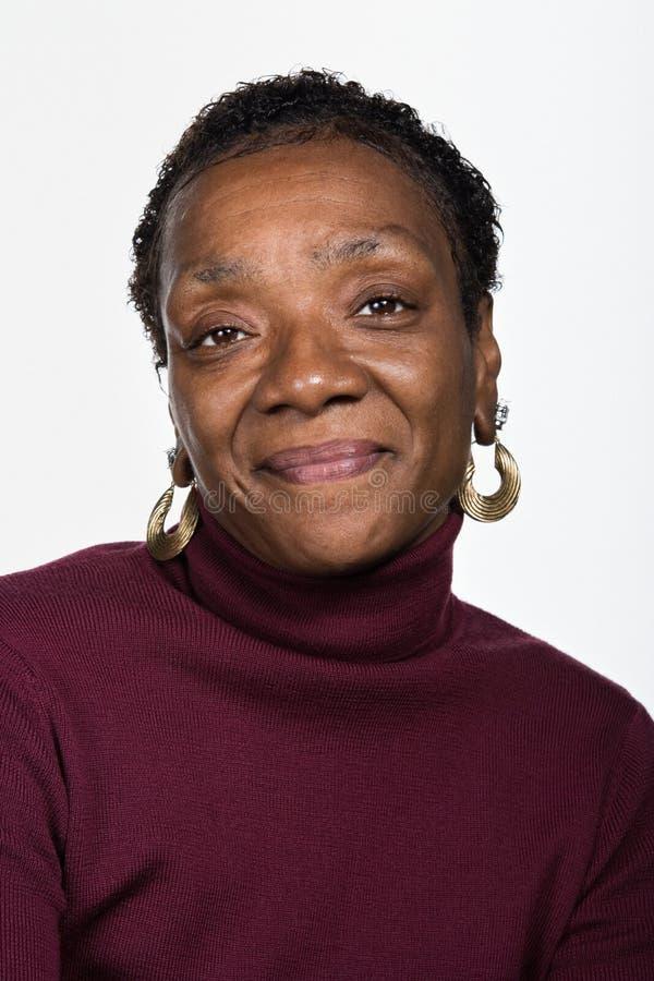 成熟非裔美国人的妇女画象  库存图片
