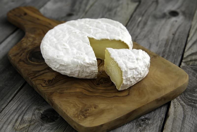 成熟鲜美乳酪软制乳酪或咸味干乳酪在切板 免版税库存照片