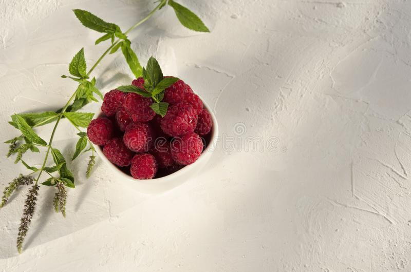 成熟rasberries和薄菏新鲜的叶子在白色桌上的 自然阳光早晨 库存照片
