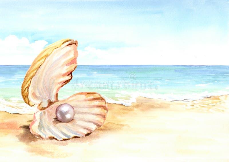 成珠状在夏天热带海滩的壳与金黄沙子和波浪 手拉的水平的水彩例证 库存例证