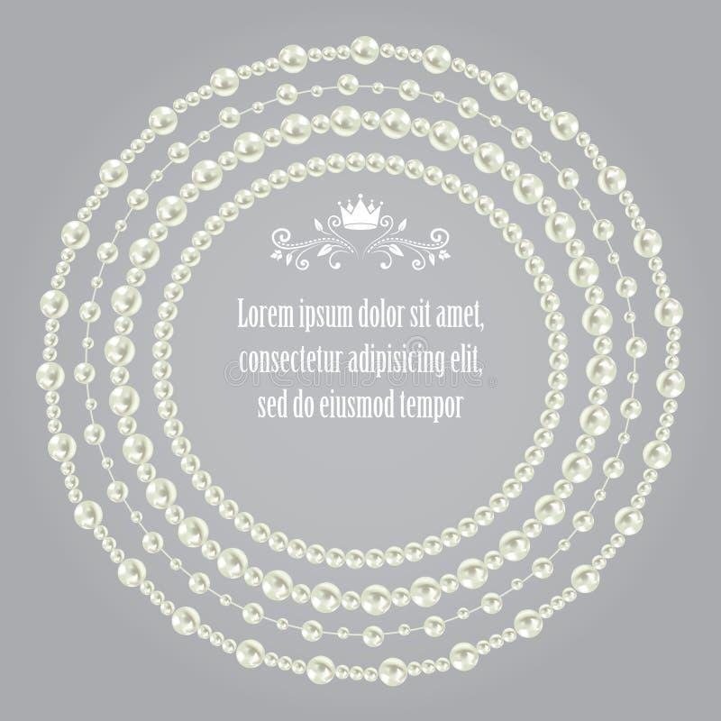 成珠状在灰色无缝的背景隔绝的美好的圆的框架的现实集合收藏 向量 皇族释放例证