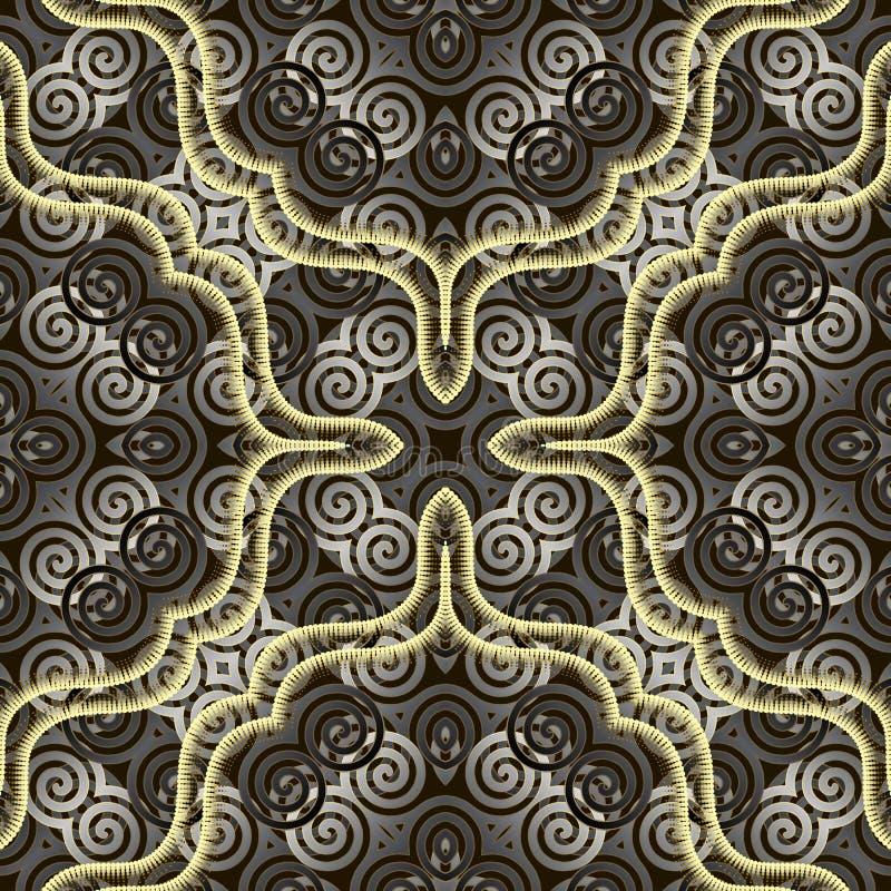 成螺旋形装饰3d无缝的样式 现代被仿造的背景 r 3D?? 重复背景与 库存例证