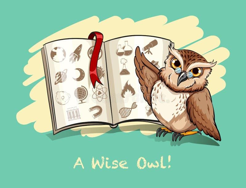 成语一头明智的猫头鹰 库存例证