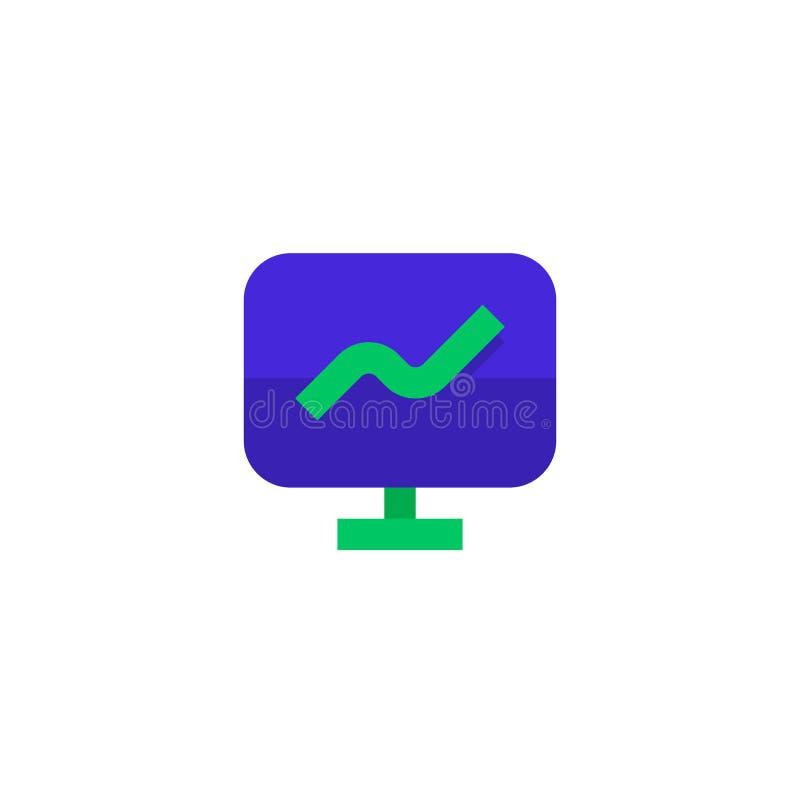 成长介绍象设计 有增长的线性图标志显示器屏幕 简单的干净的专业业务管理 库存例证