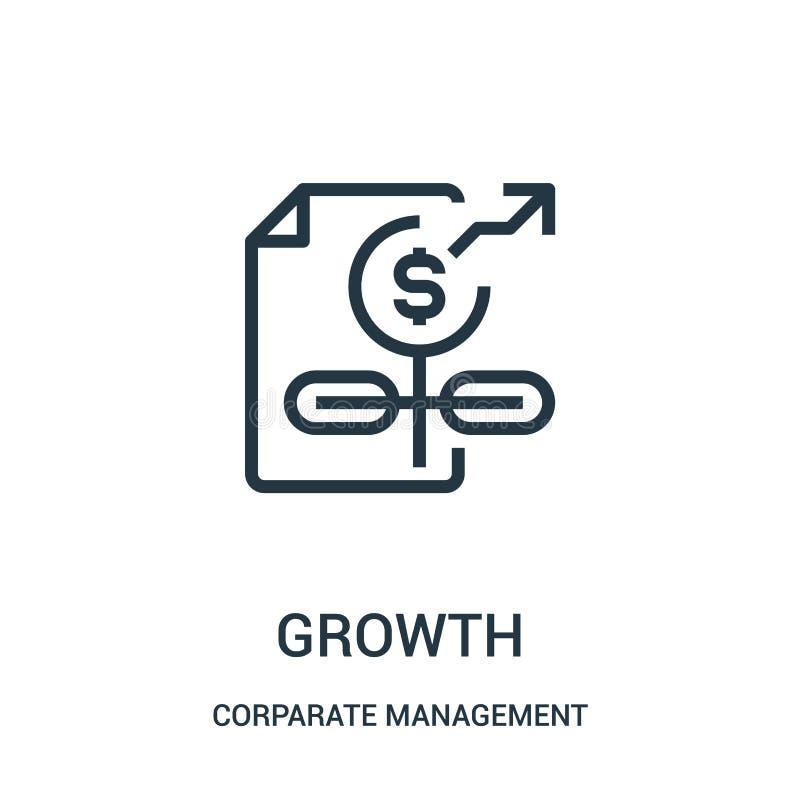 成长从公司管理汇集的象传染媒介 稀薄的线成长概述象传染媒介例证 线性标志为使用 皇族释放例证