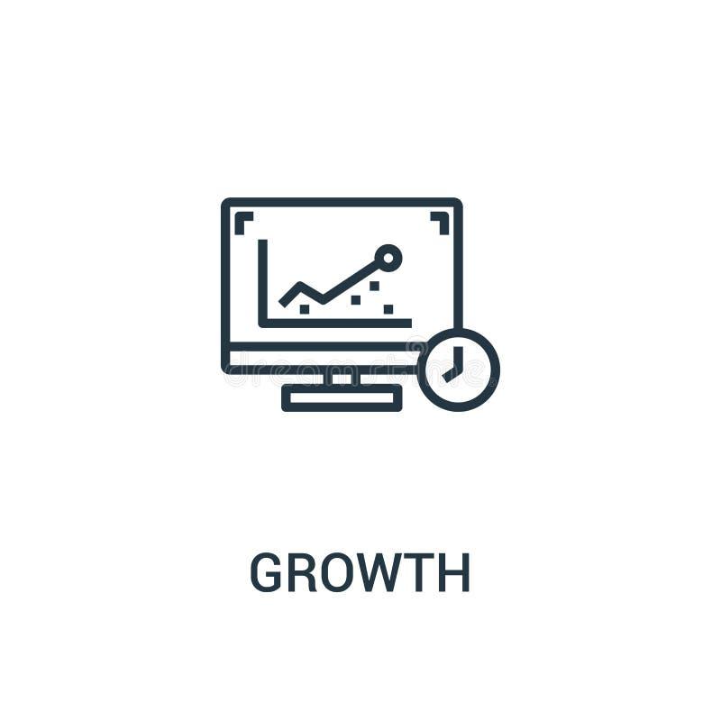 成长从seo汇集的象传染媒介 稀薄的线成长概述象传染媒介例证 线性标志为在网和机动性的使用 向量例证