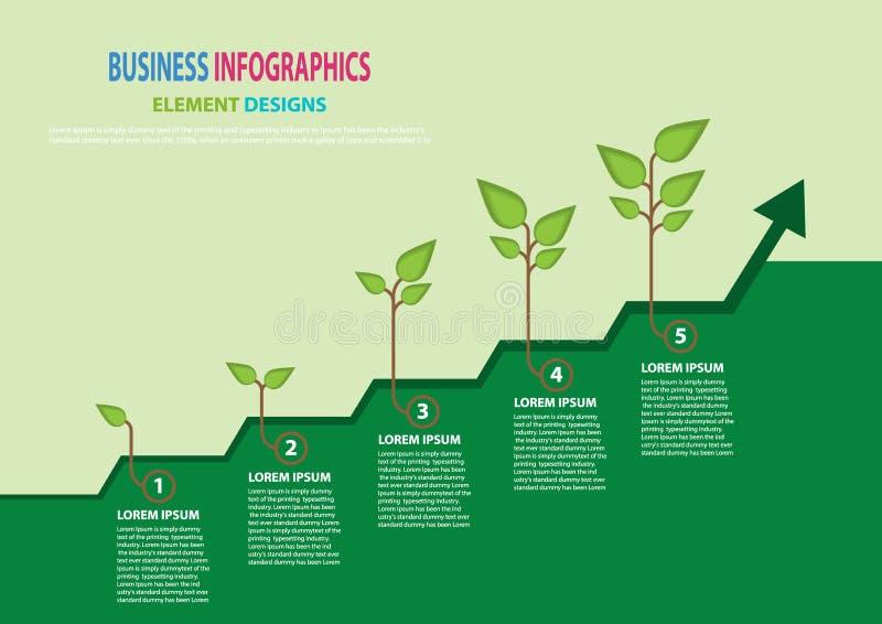成长企业概念 与5 processeso成功的植物生长 传染媒介infographic illustrat 皇族释放例证