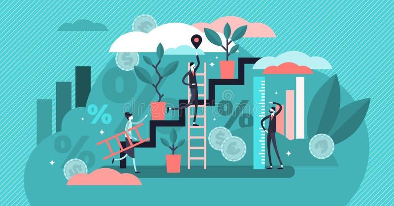 成长传染媒介例证 平的微小的增加的经济人概念 库存例证