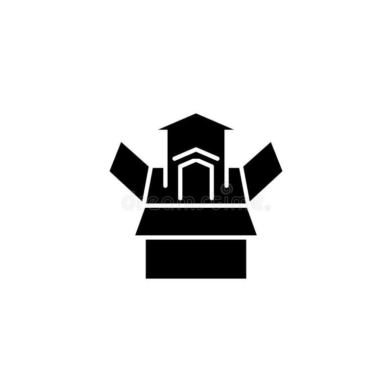 成长发展黑色象概念 成长发展平的传染媒介标志,标志,例证 皇族释放例证