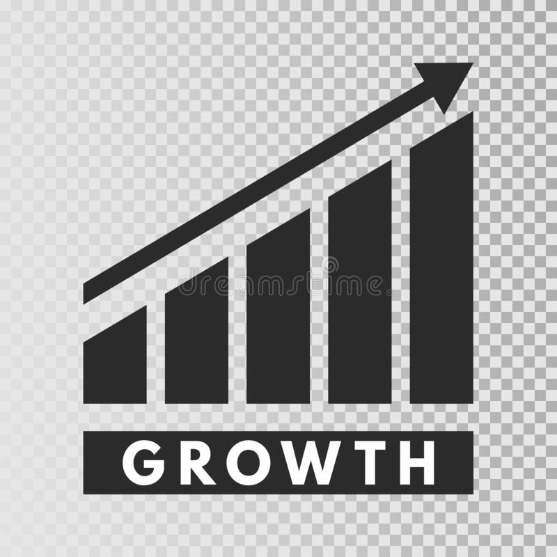 成长模板 在透明背景的增长的长条图象 企业进展 财务,事业生长概念 库存例证