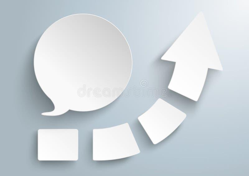 成长箭头四个片断圆的讲话泡影 库存例证