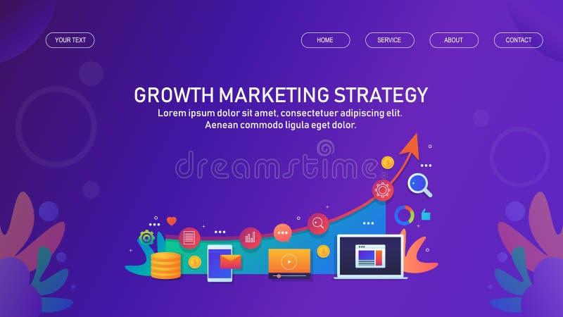成长营销策略、数字媒介营销和广告、增长的公司销售和收支概念 库存例证