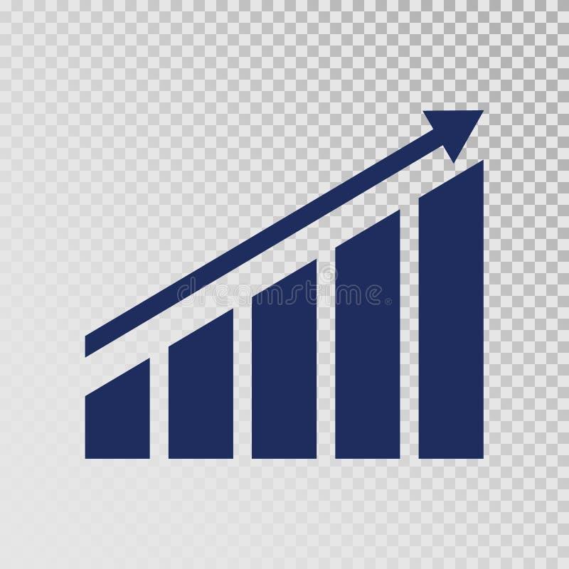 成长象 在透明背景的增长的长条图模板 企业进展 财务,事业生长概念 皇族释放例证