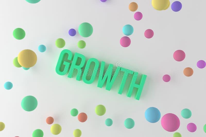 成长,事务概念性五颜六色的3D回报了词 创造性、通信、艺术品&标题 皇族释放例证