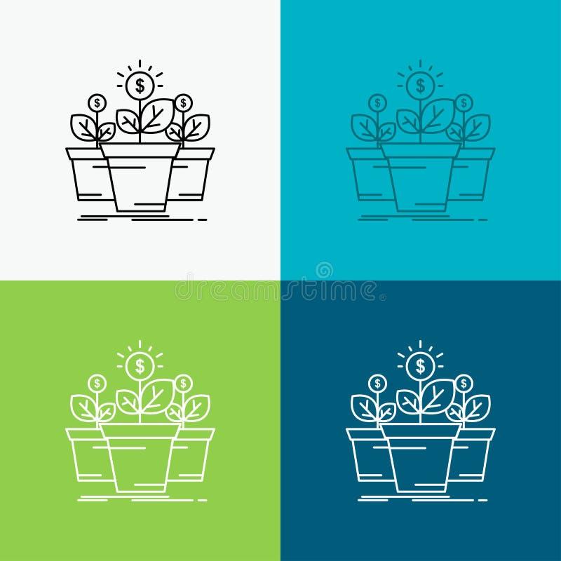 成长,金钱,植物,罐,在各种各样的背景的树象 r EPS 10?? 向量例证