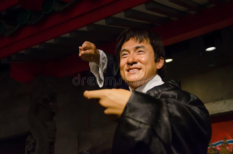 成龙蜡象杜莎夫人蜡象馆的新加坡 成龙是香港演员、艺术家、歌手和电影导演 免版税库存照片