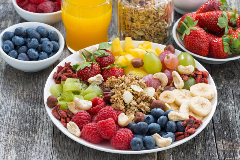 成份一顿健康早餐-莓果、果子和muesli 免版税库存图片