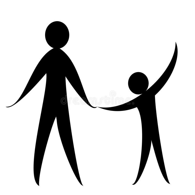 成年人和孩子的标志 向量例证