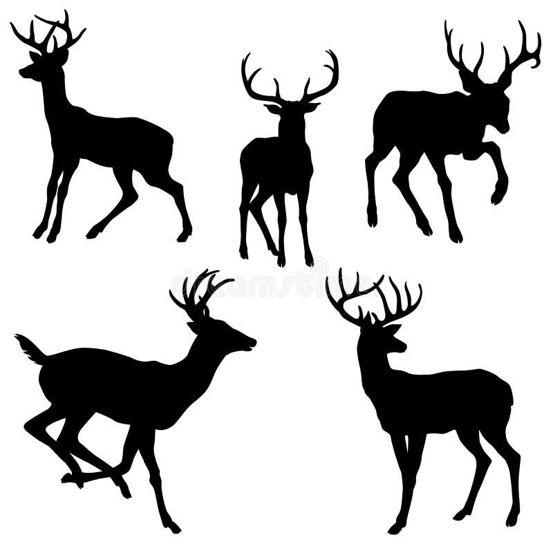 成年男性鹿剪影黑色集合 皇族释放例证