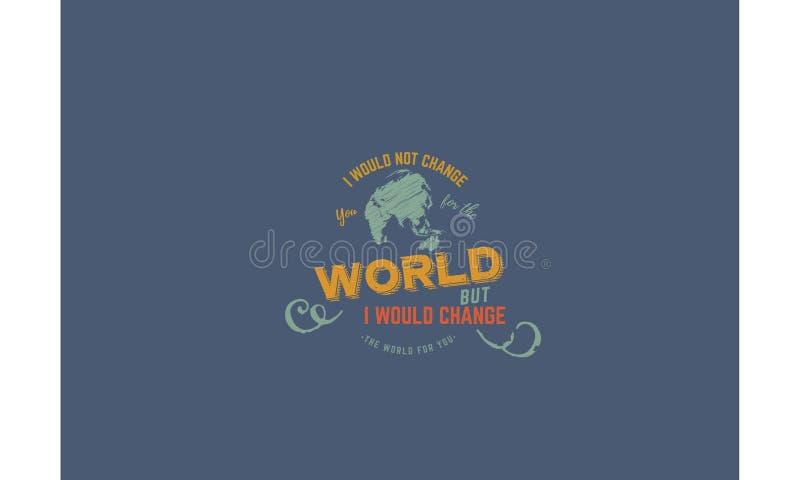 我不会改变您世界的,但是我会改造您的世界 皇族释放例证