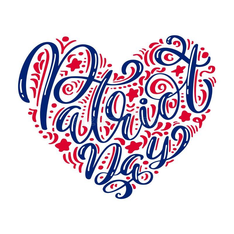 我们不会忘记 9 11书法文本爱国者天在心脏,美国颜色镶边背景 爱国者天 向量例证