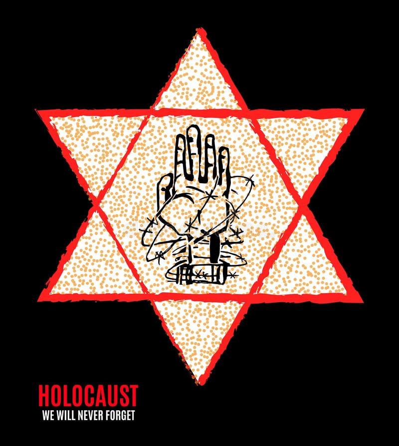 我们不会忘记 浩劫记忆天 黄色星大卫 国际天法西斯主义的集中营和少数民族居住区PR 库存例证