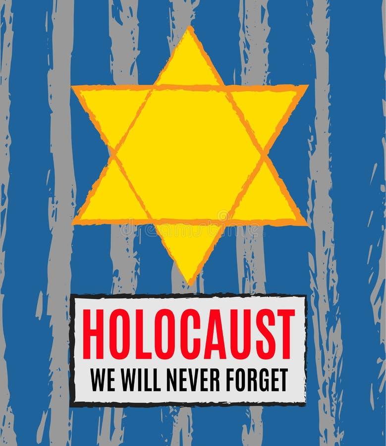 我们不会忘记 浩劫记忆天 黄色星大卫 国际天法西斯主义的集中营和少数民族居住区PR 皇族释放例证