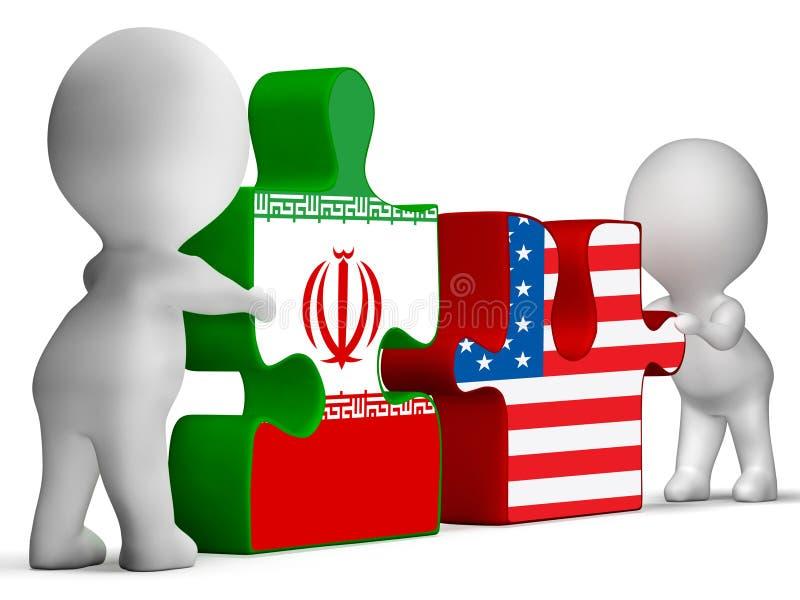 我们伊朗冲突和认可或者会议- 3d例证 皇族释放例证