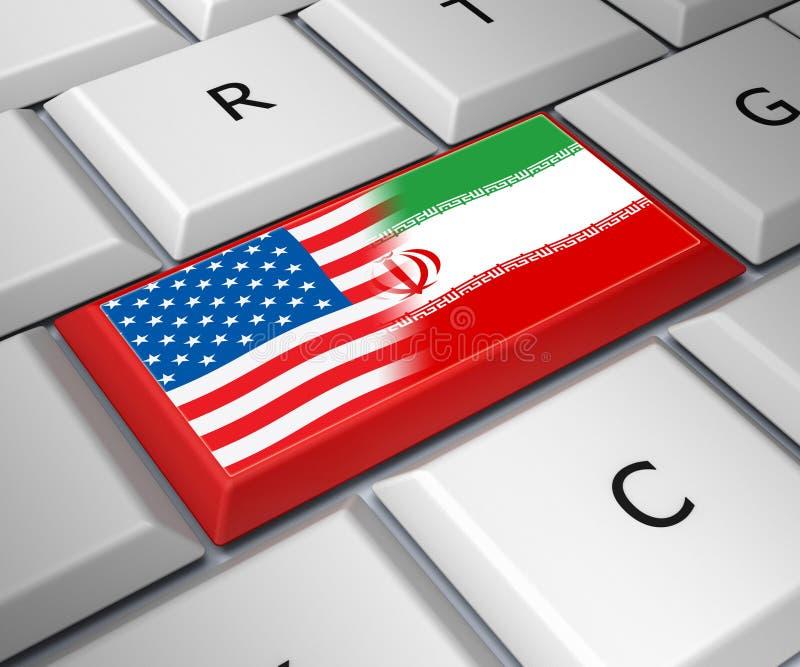我们伊朗冲突和认可或者会议- 3d例证 库存例证