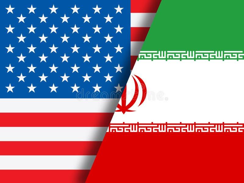 我们伊朗冲突和认可或者协议旗子-第2个例证 皇族释放例证