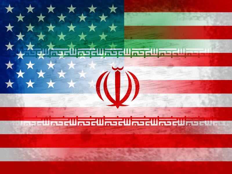 我们伊朗冲突和认可或者协议旗子-第2个例证 库存例证