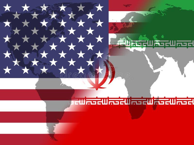 我们伊朗冲突和认可或者协议-第2个例证 库存例证