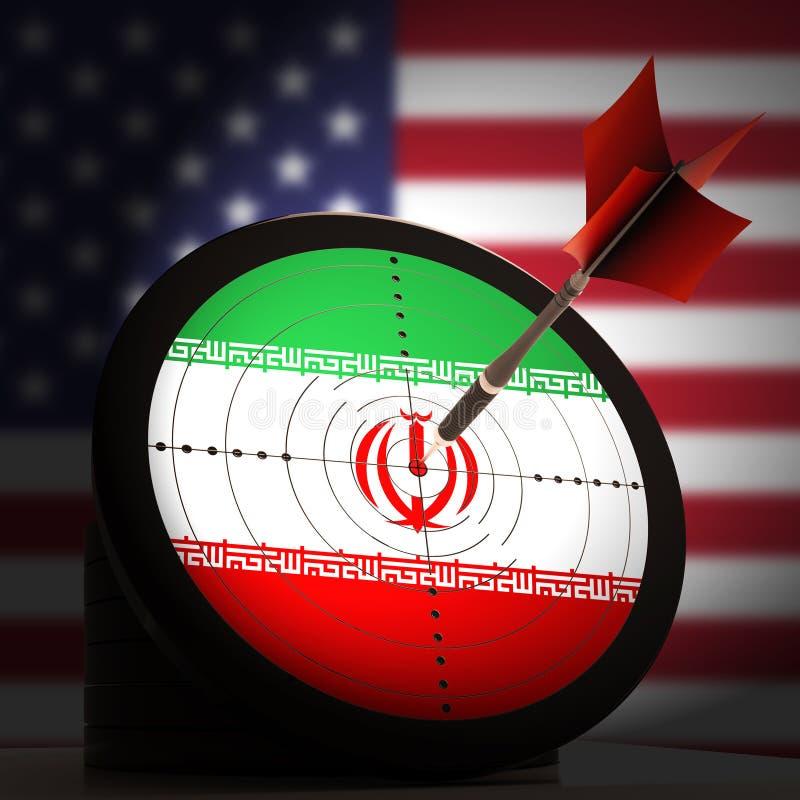我们伊朗冲突和认可或者危机- 3d例证 向量例证
