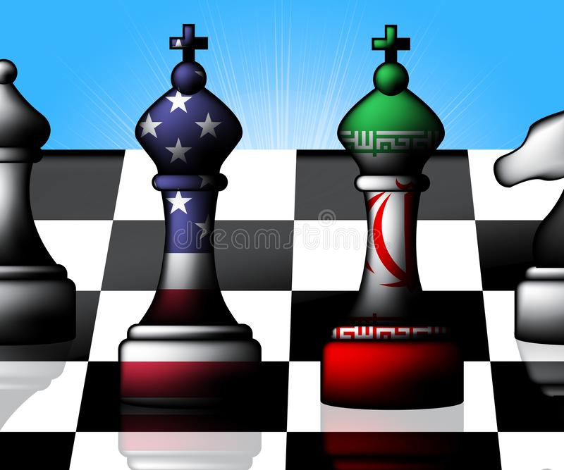 我们伊朗冲突和认可或者危机- 3d例证 库存例证