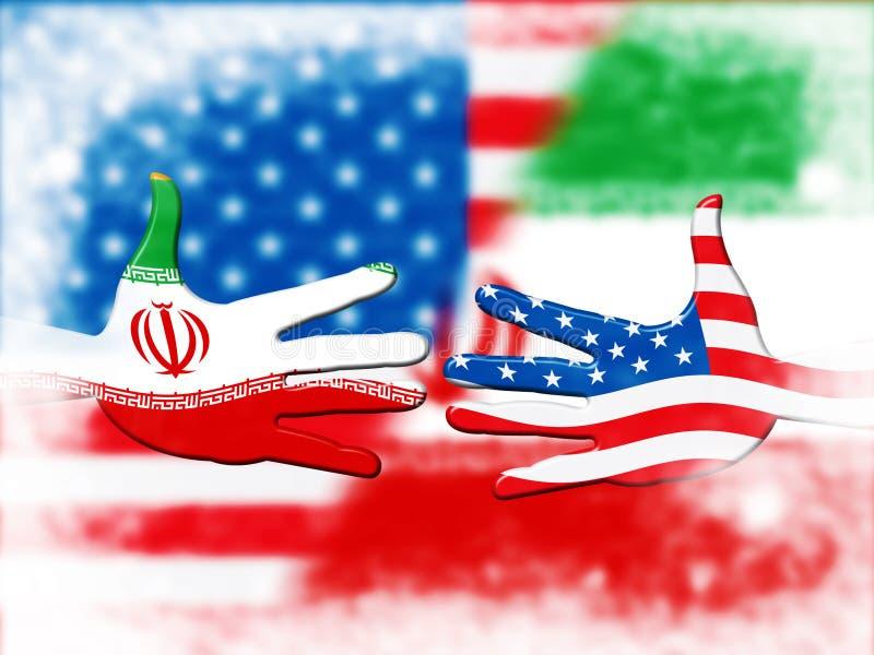 我们伊朗冲突和认可或者和谐-第2个例证 库存例证