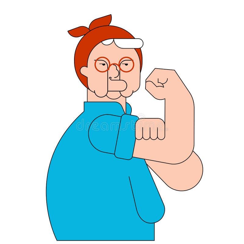 我们可以做它老妇人标志力量女性 领抚恤金者夫人showi 库存例证