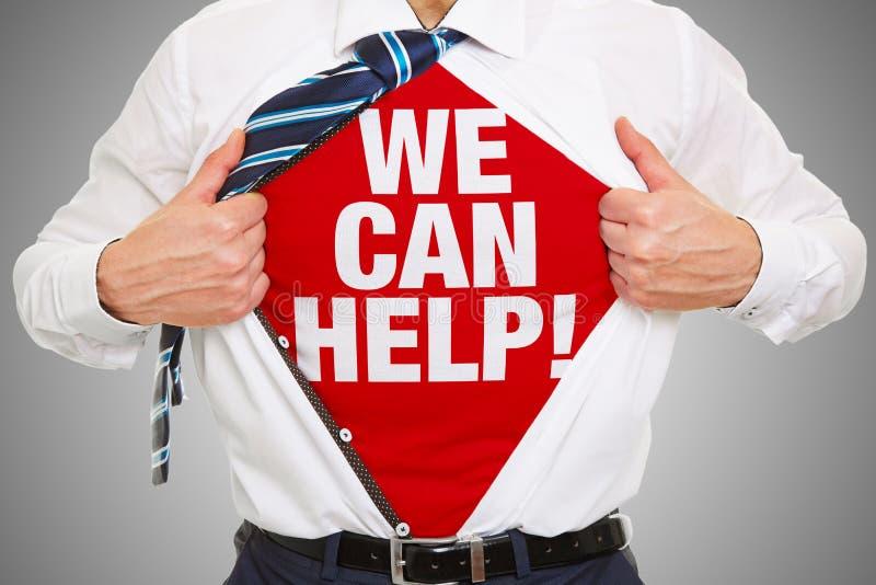 我们可以帮助作为在衬衣的口号的忠告概念 免版税库存照片