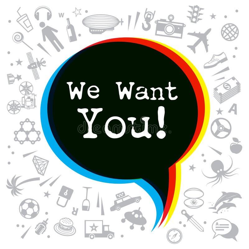 我们想要您-海报、横幅或者抽象设计 库存例证