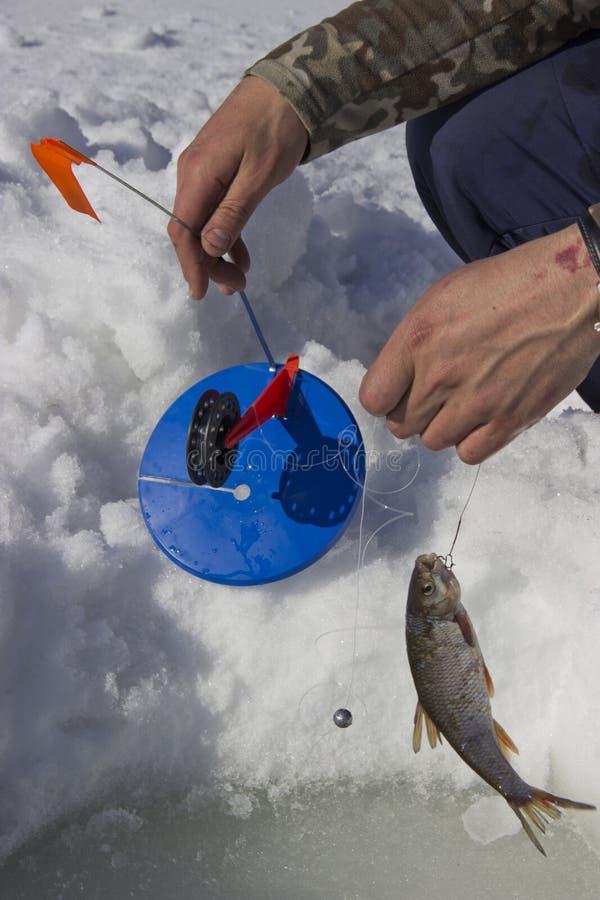 我们投入了冬天钓鱼的一根钓鱼竿 图库摄影