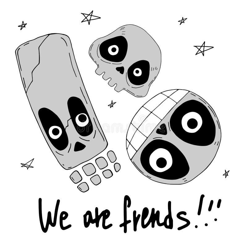 我们是朋友 与滑稽的头骨,在上写字和装饰元素的逗人喜爱的动画片例证 库存例证