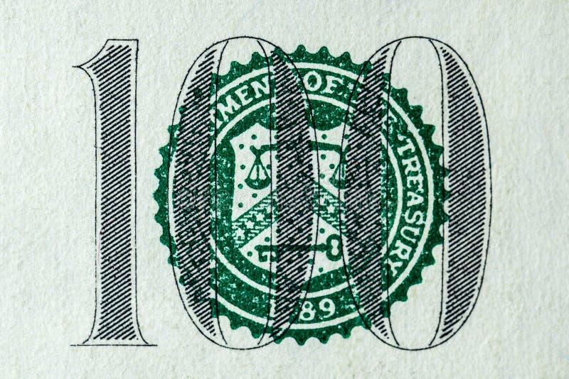 我们本国货币紧密一百美元 库存图片