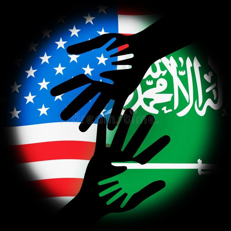 我们沙特阿拉伯旗子和关系或者冲突-第2个例证 库存例证