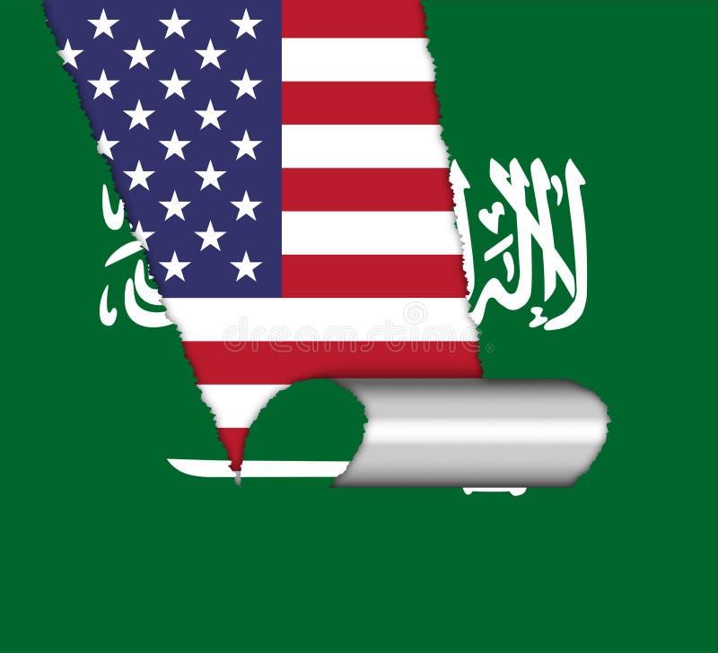 我们沙特阿拉伯旗子和关系或者冲突-第2个例证 向量例证