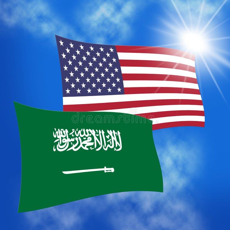我们沙特阿拉伯旗子和关系或者冲突- 3d例证 向量例证