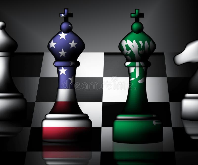我们沙特阿拉伯旗子和关系或者冲突- 3d例证 库存例证