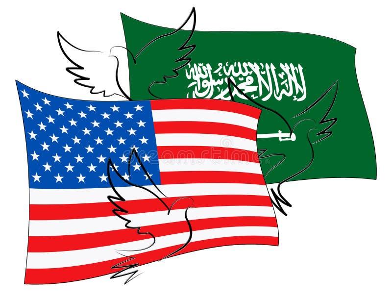 我们沙特阿拉伯旗子和关系或者冲突- 3d例证 皇族释放例证