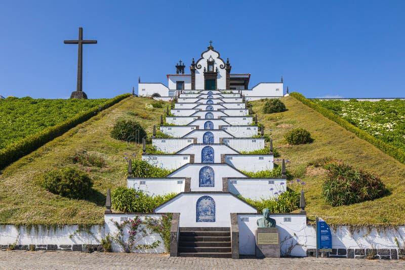 我们的和平教堂的夫人在维拉弗朗卡的做园地,圣地米格尔海岛,亚速尔 库存图片