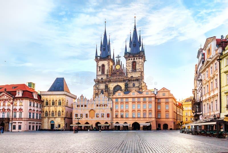 我们的在Tyn前的夫人教会在布拉格,没有人 免版税库存图片