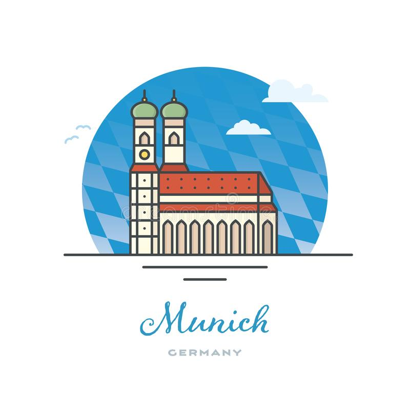 我们的夫人教会,慕尼黑,德国 向量例证