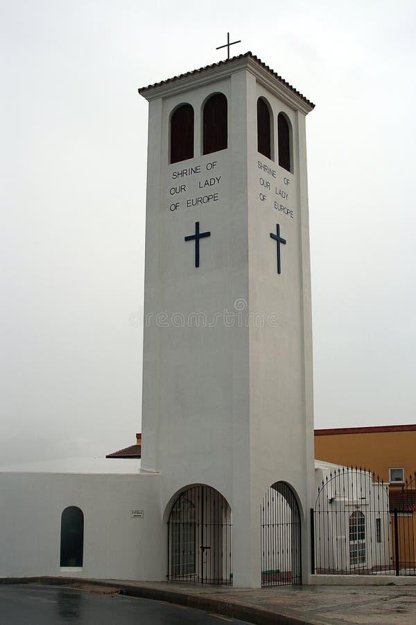 我们的夫人欧洲,天主教教区教堂寺庙在直布罗陀 免版税图库摄影